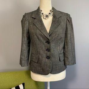 The Limited Grey Tweed Cropped Blazer Jacket